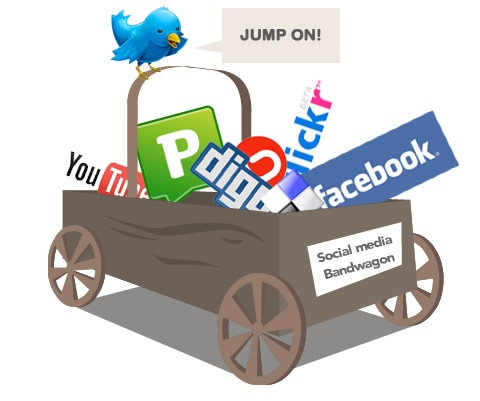 social media icons in basket