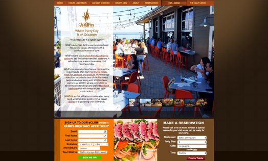 WildFin American Grill website designed by Fingerprint Marketing