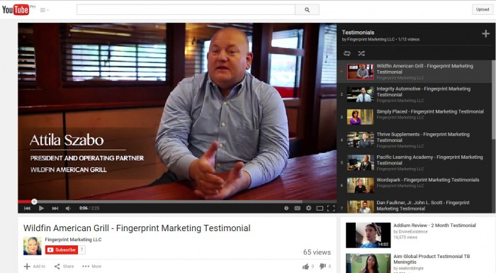 youtube testimonials for Fingerprint Marketing