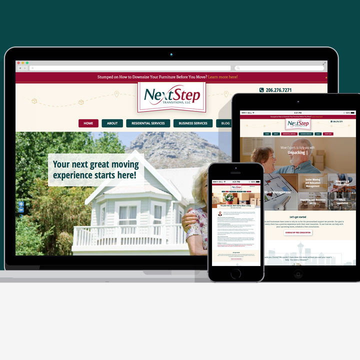 NextStep Transition website designed by Fingerprint Marketing