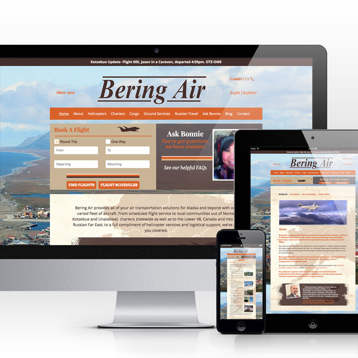 Bering Air website designed by Fingerprint Marketing