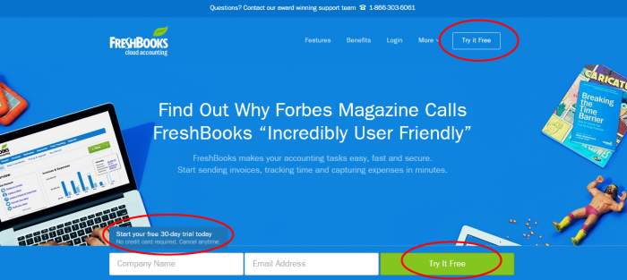 Freshbooks call to actions