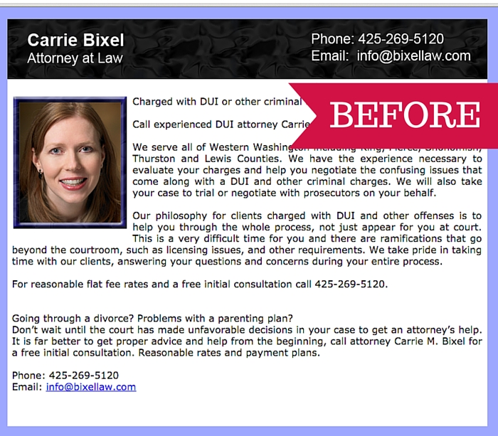 Bixel Law website before it was redesigned by Fingerprint Marketing