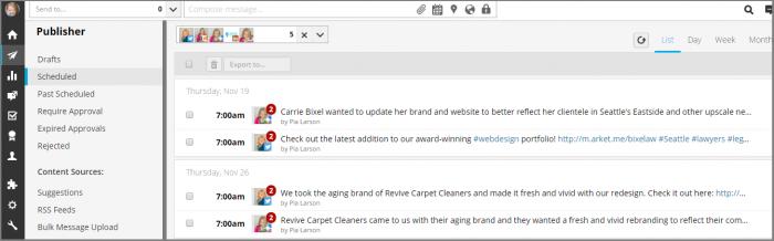 Screenshot of Fingerprint Marketing's Hootsuite Dashboard