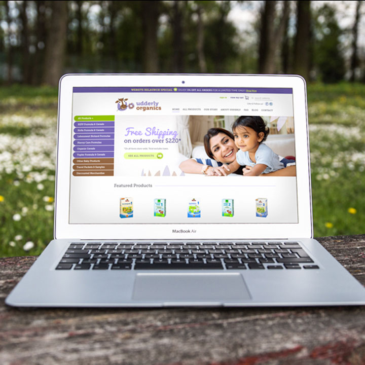 Udderly Organics website designed by Fingerprint Marketing