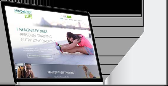 Mind + Body website on a laptop
