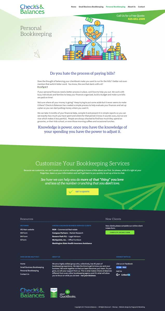 Checks and Balances Website design by Fingerprint Marketing