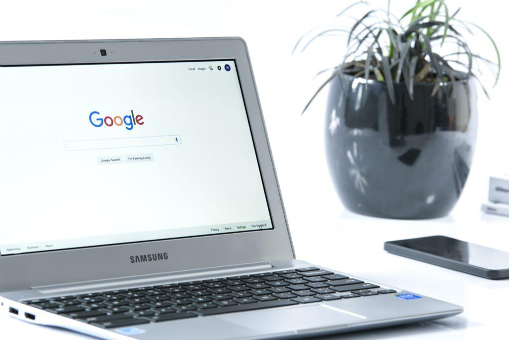 google website on laptop
